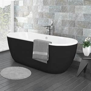 Verona Black Freestanding Modern Bath Victorian Plumbing UK