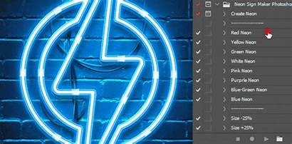 Neon Sign Photoshop Action Maker Graphicriver Tube