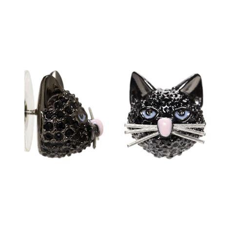kate spade  york cats meow    bag black cat crystal stud earrings ebay