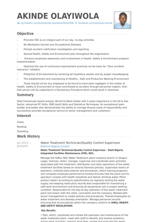 Wastewater Treatment Technician Resume sle cover letter water quality resume sle