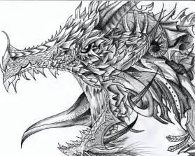 Detailed Dragon Drawing Pencil