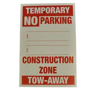 Temporary No-Parking Signs