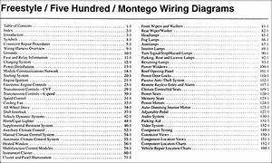 2005 Freestyle  500  Montego Wiring Diagram Manual Original