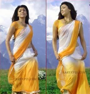 Kajal Agarwal transparent saree stills from Thuppaki movie ...
