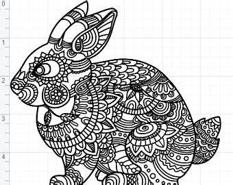 Download easter bunny svg, easter monogram svg (54353) today! Mandala bunny | Etsy