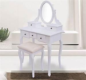 Coiffeuse Meuble Blanc : coiffeuse table de maquillage commode de coiffer avec tabouret tiroir et miroir pivotant en ~ Teatrodelosmanantiales.com Idées de Décoration