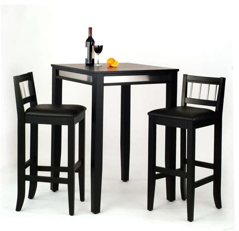 manhattan pub table and 2 stools set black transitional