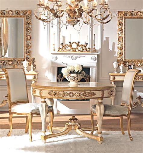 French Classic Dining Room Furniture With Small Round