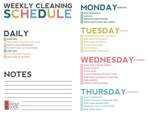weekly cleaning schedule template weekly cleaning schedule