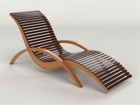 Lounge Chair Outdoor Wood Patio Deck D Model Cgtrader