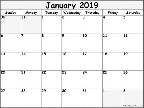 January 2019 Blank Calendar Collection