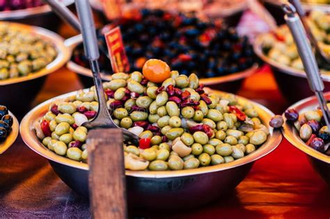 Green Olives In A Salad Bowl For Sale Stock Image - Image ...