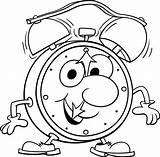 Clock Coloring Alarm Walking sketch template