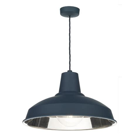 retro style ceiling pendant in smoke blue finish with