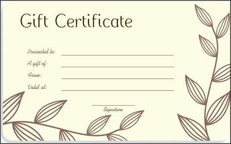 Blank Birthday Gift Certificate Template by 5 Printable Blank Gift Certificates Sletemplatess
