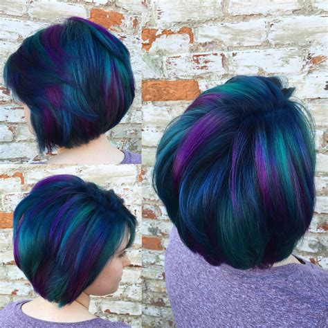 Peacock Hair Blue Purple And A Little Green Fashion