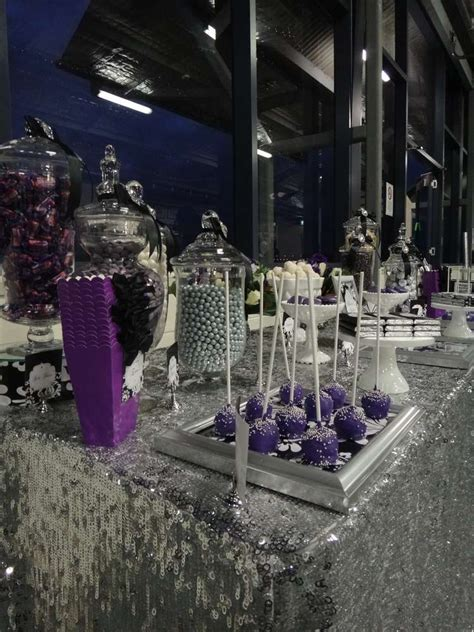 purple black white  silver birthday party ideas