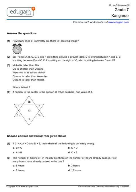 grade  kangaroo printable worksheets  practice