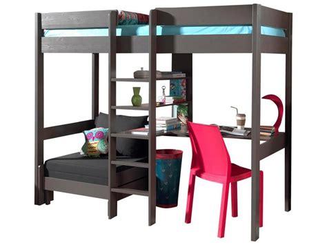 lit à étage avec bureau acheter le lit mezzanine lena taupe