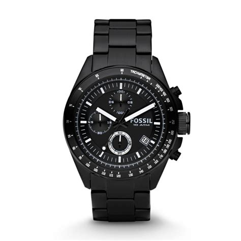 Decker Chronograph Black Stainless Steel Watch Fossil