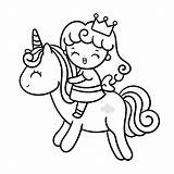 Coloring Princess Pages Unicorn Sweet Cutest sketch template