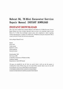 Bobcat 56  76 Mini Excavator Service Repair Manual Instant