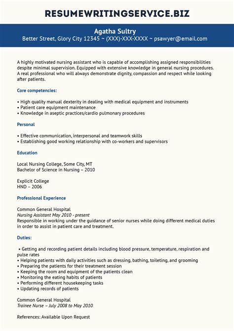 Writing A Nursing Resume by Professional Nursing Assistant Resume Exle Resume