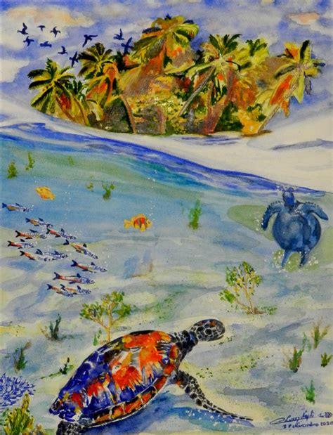 Peinture L'île Aux Tortues