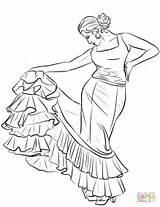 Spanish Dancer Coloring Flag Flamenco Salvador Printable Drawing Colouring Sheets El Spain Dance Template Costume Ballerina sketch template