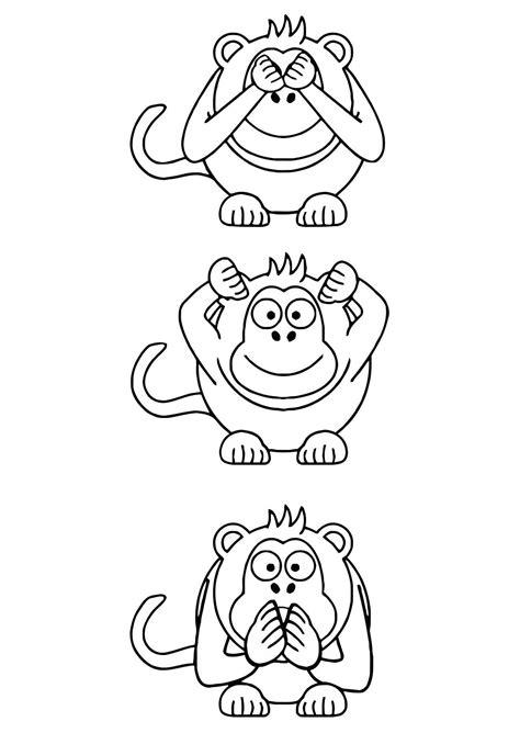 coloriage singes de la sagesse img