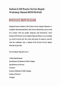 Kubota L210 Tractor Service Repair Workshop Manual Download
