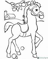 Horse Coloring Apple sketch template