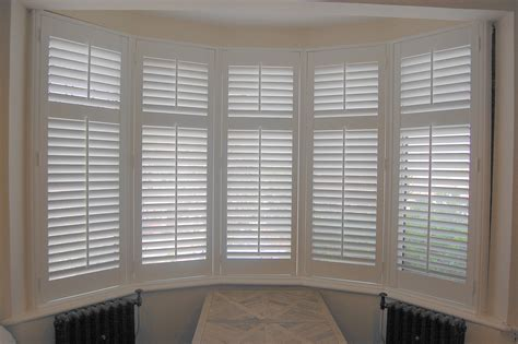 Wood Plantation Shutters by Bay Window Wooden Plantation Shutters In Height With