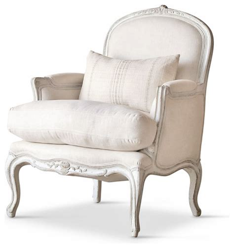 Country Accent Chairs by La Country Style Oyster White Fog Linen Arm