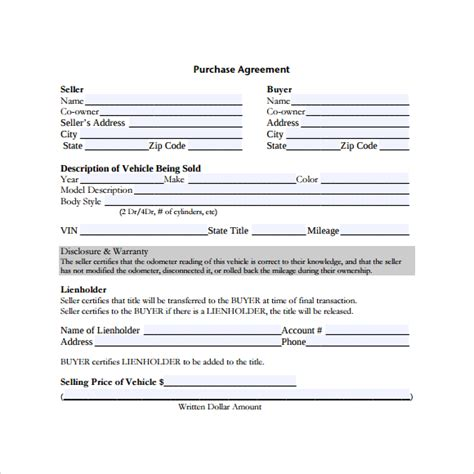auto purchase agreement template 28 images free