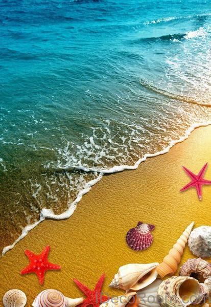 beach sand star fish shells  floor decals