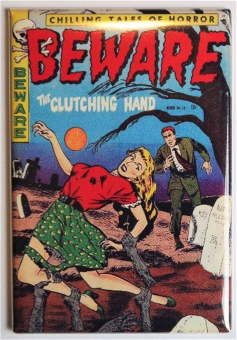 beware comics   fridge magnet pin  girl comic book