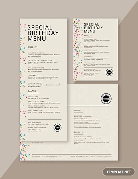 kids birthday party menu designs  examples psd