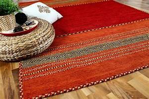 natur teppich kelim navarro rot orange teppiche nepal With whirlpool garten mit balkon teppich rot