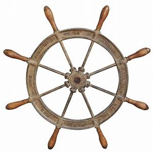 American Cast Iron and Wood Classic Ship Wheel, Signed by