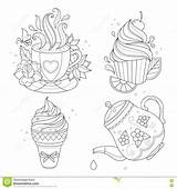 Coloring Pot Stew Template Tea Cream Ice Colouring Cup sketch template