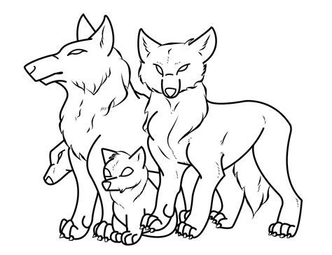 Family Wolf Drawings Outline