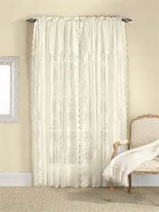 carly lace curtain panel with attached valance white