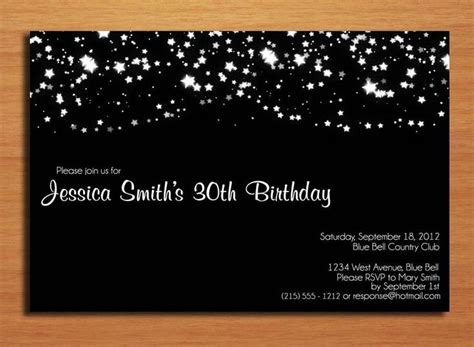 birthday invitation card template for adults starry 30th birthday customized printable
