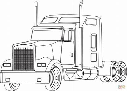 Coloring Semi Truck Ausmalbilder Lastwagen Supercoloring Printable