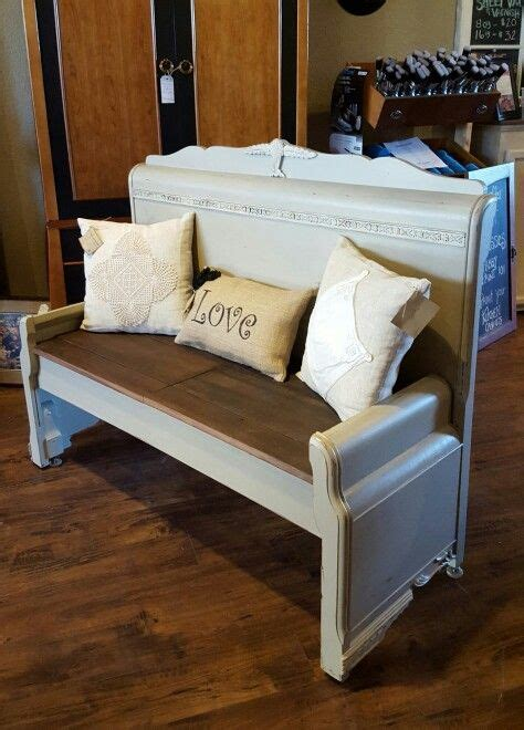 1930 s waterfall headboard and footboard bench finished in cali taupe and white linen