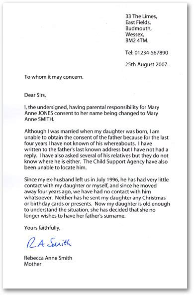 letters  consent  changing  childs