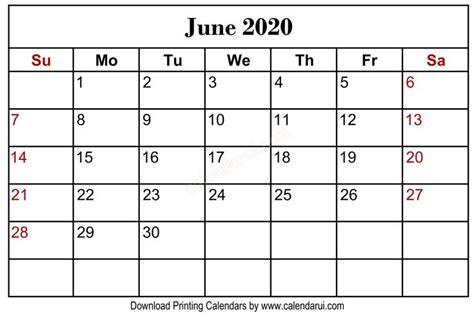 june  blank calendar printable