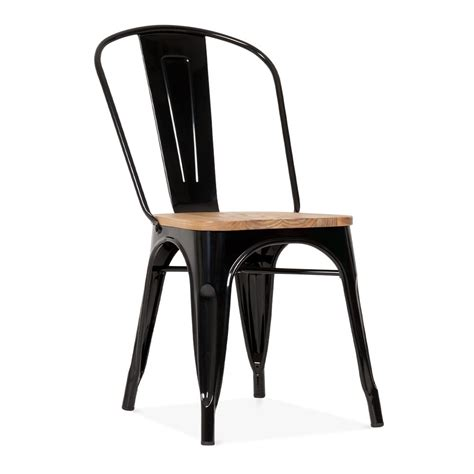 chaise bois metal black metal tolix side chair with elm wood seat cult