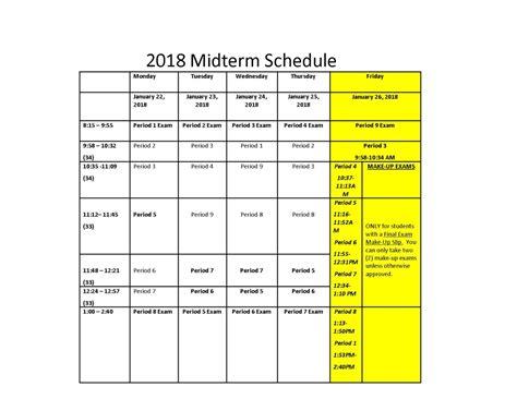 midterm schedule arts high school